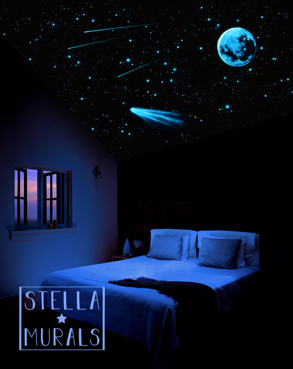 Glow in the Dark Star Ceiling | Moon | Comet | Shooting Stars | White