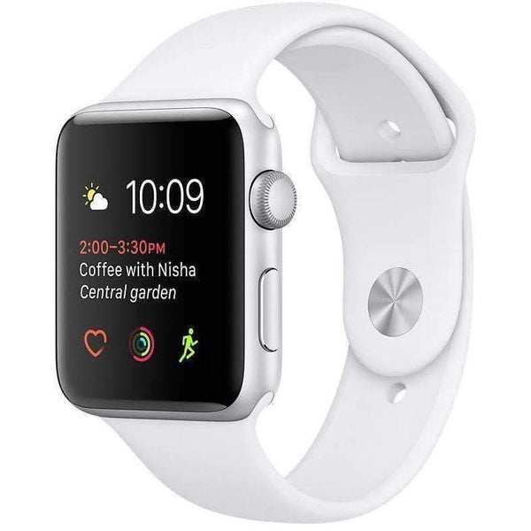 Apple Smart Watch Apple Watch 38mm Silver Alumnium Case With White Sport Band MNNG2 duvolab