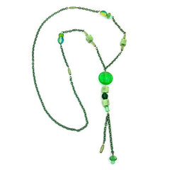 NECKLACE EYE-CATCHING BEADS GREEN 90CM