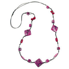 NECKLACE SQUARE BEADS PINK-GREY 100CM