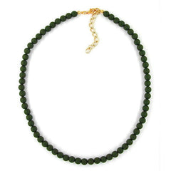 NECKLACE BEADS 6MM OLIVE/ DULL 45CM