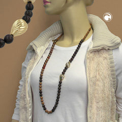 NECKLACE BROWN/BLACK TONES GREAT DESIGN 90CM