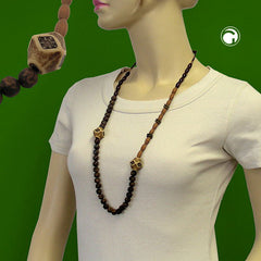 NECKLACE BROWN BEADS DIFFERENT SHAPES AND COLOUR TONES 100CM