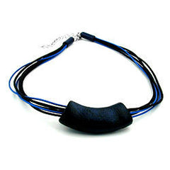 NECKLACE TUBE FLAT CURVED DARKBLUE 45CM