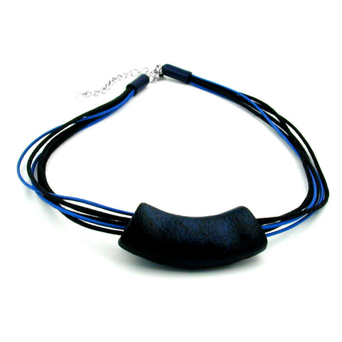 NECKLACE TUBE FLAT CURVED DARKBLUE 50CM