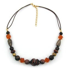 NECKLACE SCREW BEAD MIXED COLOUR COMBINATION OF BEADS 45CM