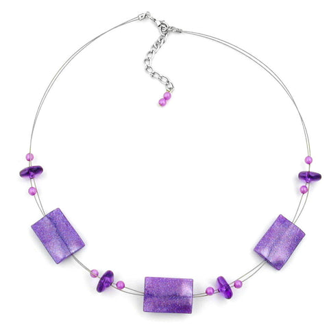 NECKLACE SHINY LILAC RECTANGLE BEADS ON COATED FLEXIBLE WIRE 45CM