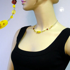 NECKLACE GLASS BEADS OLIVE YELLOW BROWN 42CM
