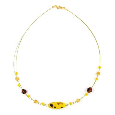 NECKLACE GLASS BEADS OLIVE YELLOW BROWN