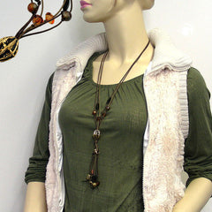 NECKLACE OLIVE/GOLD-COLOURED/BLACK BEADS FASHION 2012 80CM