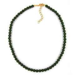 NECKLACE BEADS 6MM OLIVE/ DULL 40CM