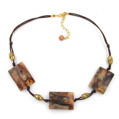 NECKLACE 3X SQUARES BROWN/BEIGE