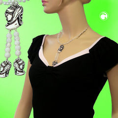 NECKLACE BLACK BEIGE CAMEO BEADS ON COATED FLEXIBLE WIRE 42CM