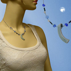 NECKLACE ANGLE GREY-BLUE-SILVER-COLOURED 42CM