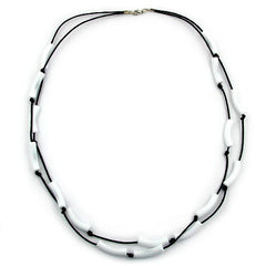 NECKLACE TUBES WHITE BLACK CORD 70CM