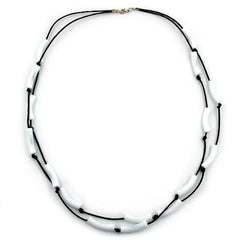 NECKLACE TUBES WHITE BLACK CORD