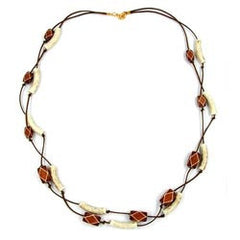 NECKLACE TUBES-BEADS BROWN 70CM