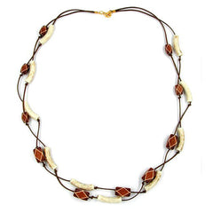 NECKLACE TUBES-BEADS BROWN