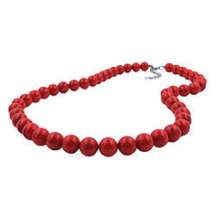 NECKLACE DARK RED MARBLED BEADS 12MM 42CM