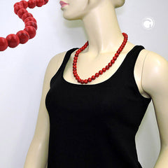 NECKLACE DARK RED MARBLED BEADS 12MM 60CM