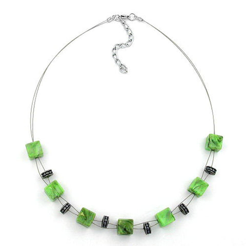 NECKLACE CUBE BEADS LIGHT GREEN MARBLED 45CM