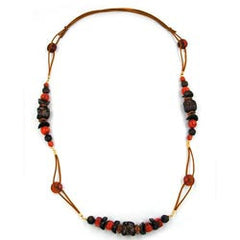NECKLACE STONE BEAD RED-BROWN 100CM