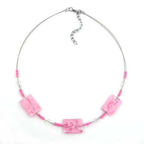 NECKLACE RECTANGLE BEADS PINK MARBLED 45CM