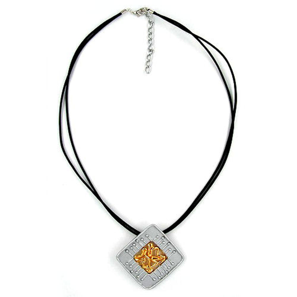 NECKLACE SQUARE SILVER-GOLD 45CM