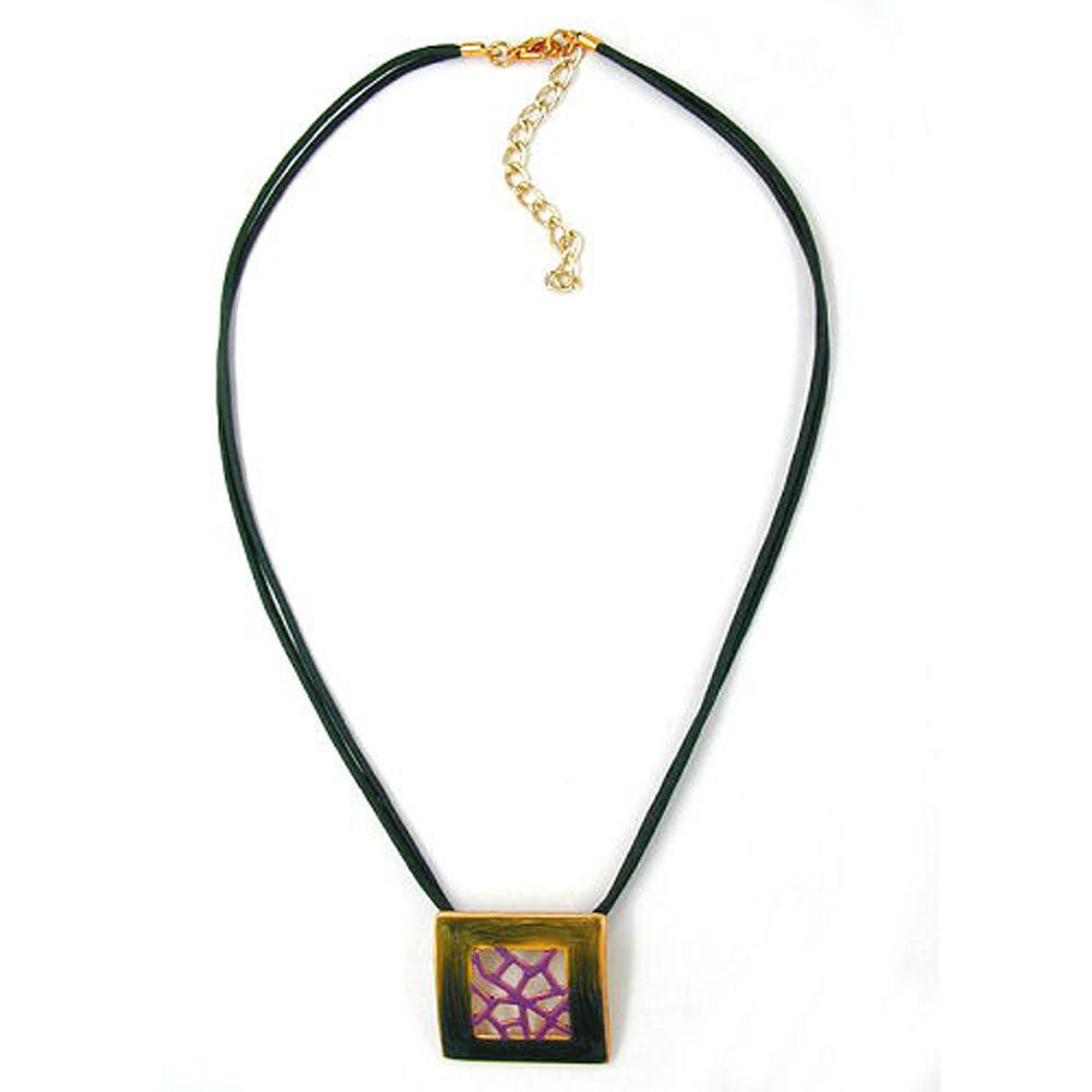 NECKLACE SQUARE GREEN-PURPLE 42CM