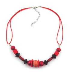 NECKLACE RED WOODEN BEADS