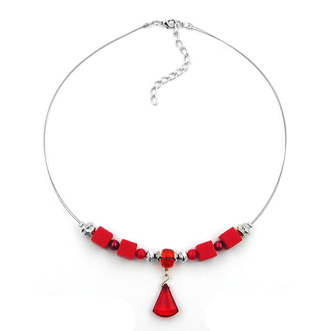 NECKLACE RED AND SILVER-COLOURED BEADS ON COATED FLEXIBLE WIRE