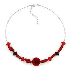 NECKLACE VARIOUS SHAPED RED BEADS 45CM