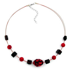 NECKLACE RED AND BLACK BEADS ON COATED FLEXIBLE WIRE 45CM
