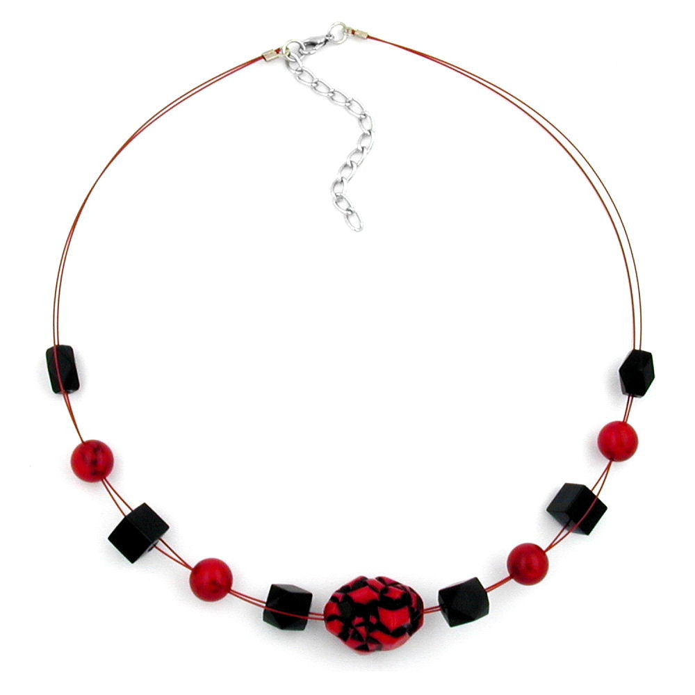 NECKLACE RED AND BLACK BEADS ON COATED FLEXIBLE WIRE