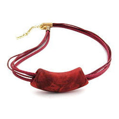 NECKLACE TUBE FLAT CURVED DARK RED 50CM