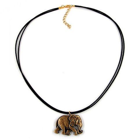 NECKLACE ELEPHANT BLACK-GOLD-COLOURED