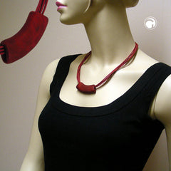 NECKLACE TUBE FLAT CURVED RED-BLACK 45CM