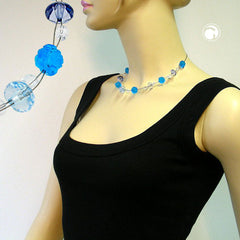 NECKLACE FLOWER BEAD TURQUOISE 45CM