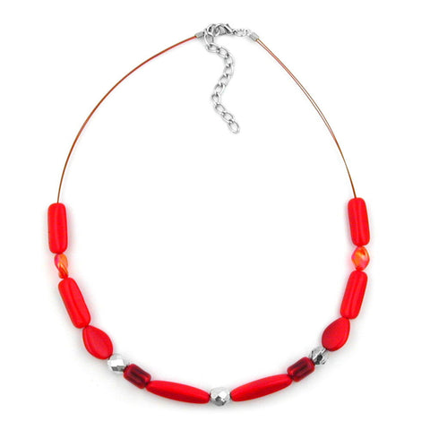 NECKLACE RED WATERED GLASS BEADS ON COATED FLEXIBLE WIRE