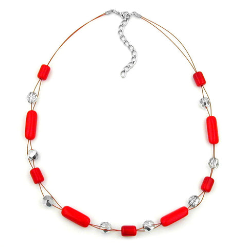 NECKLACE RED AND SILVER-MIRRORED GLASS BEADS