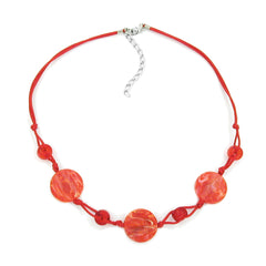NECKLACE DISK SHAPED RED MARBLED BEADS RED CORD
