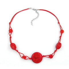 NECKLACE RED MARBLED BEADS RED CORD 45CM