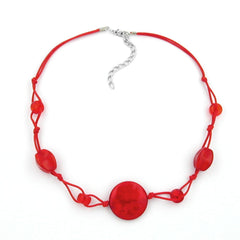 NECKLACE RED MARBLED BEADS RED CORD
