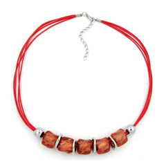NECKLACE LARGE MARBLED RED/ORANGE BEADS RED CORD 50CM