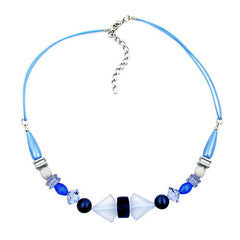 NECKLACE BLUE TONES VARIOUS BEADS 42CM