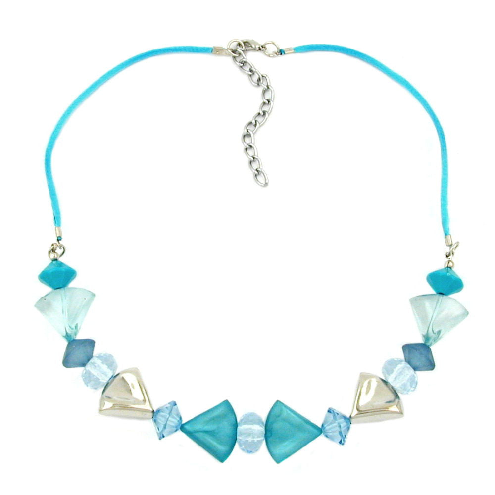 NECKLACE TURQUOISE-BLUE/SILVER COLORED VARIOUS BEADS