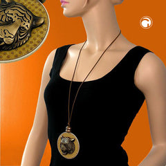 NECKLACE DISK WITH TIGERHEAD BROWN 90CM