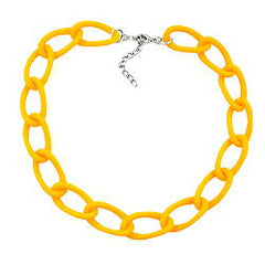 NECKLACE WIDE CURB CHAIN YELLOW-MATT 45CM