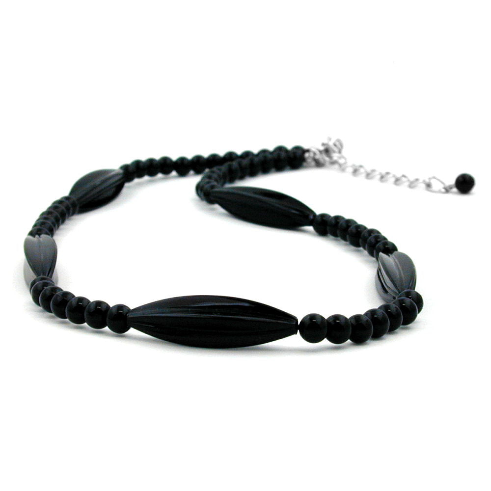 NECKLACE BLACK BEADS 42CM
