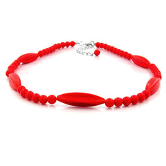 NECKLACE RED BEADS 42CM